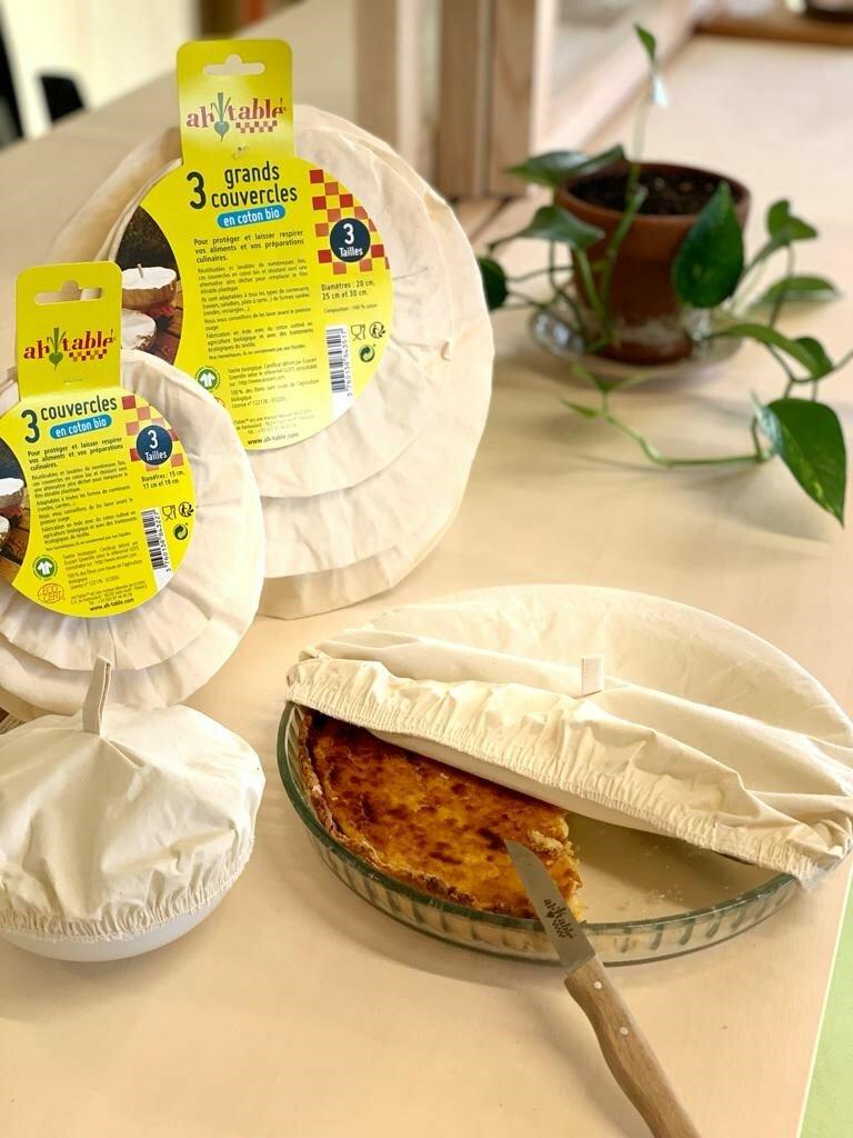 Charlottes alimentaires de conservation en coton bio couvercles